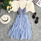 Knit Patchwork Mesh Sexy V Neck Strap Summer Midi Long Dress Party Women Casual Beach Holiday Irregular Vestidos
