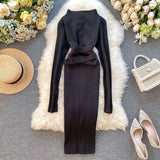 Vintage Slim Bandage Midi Pencil Dresses Bodycon Knitted Sweater Party Women Club Knee Length Dress