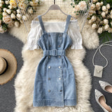 Slash Neck Solid Short Sleeve Shirts + Vintage Double Breasted Sashes Denim Mini Strap Dress Women 2pieces