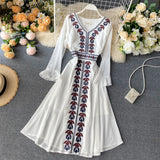 Slim Embroidery Dress Midi Long Chiffon Party Dress Women Casual A-line Beach Holiday Elegant Dresses