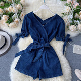 Sexy V Neck Backless Short Sleeve Playsuits Solid Casual High Waist Women Playsuits