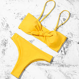 Sexy Solid Bow Bikinis Push Up Bikini Straps Padded Low Waist Swimsuit Bandage Swimwear Women Biquini