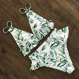 Print Bikini Women Swimwear Push Up Swimsuit High Waist Biquini Halter Backless Bathing Suit Ruffle Beach Wear