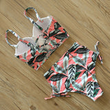 High Waist Swimwear Leaf Print Bikinis Women Swimsuit Retro Bathing Suit Halter Biquini