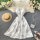 Floral Print Slim Sexy Strap Midi Long Casual Party Women A-line Beach Holiday Dress