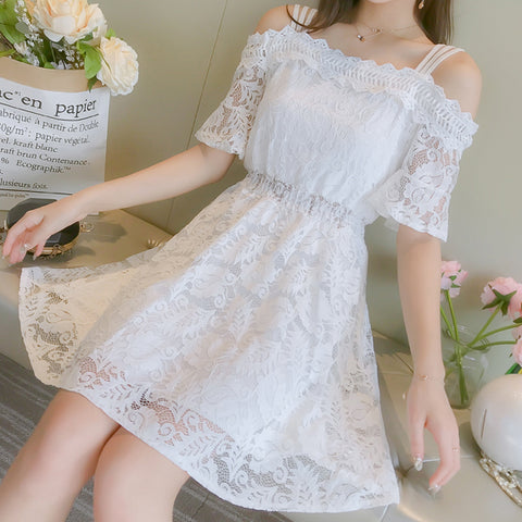 Lace Hollow Short Sleeve Fashion Dress
