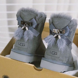UGG New Hot Face Bowknot Fringed Low Top Mink Fur Women Boots Shoes