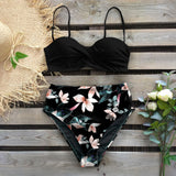 Bikini Swimsuit Women Swimwear Push Up Bikinis Set Leaf Print Female High Waist Swimming Suits For Bathing Suit