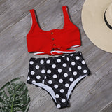 Sexy Button Bikini Set Women Plant Print Bikinis Bow Bandage Bathing Suit Swimwear Summer High Waist Beachwear Biquini
