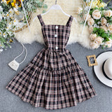 Vintage Slim Plaid Print Sexy Mini Short Dress Strap Ruffles Party Dress Women Beach Line Dress