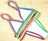Handmade Crochet Multicolor Beach Bikini Set Swimsuit Swimwear