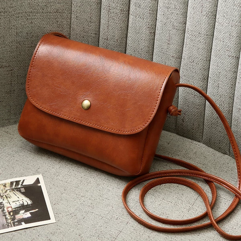 Women'S Vintage Buttons PU Leather Shoulder Bag
