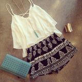 Strap Sleeveless Chiffon Vest Tank Top Shirt Pattern Shorts Set Two-Piece