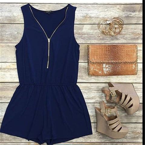 Zipper Deep V-Neck Solid Color Romper Jumpsuit