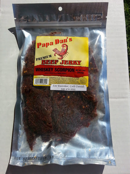 Papa Dan's Whiskey Scorpion Pepper (Flat Cut) -- (8 oz) - The Jerky Hut online