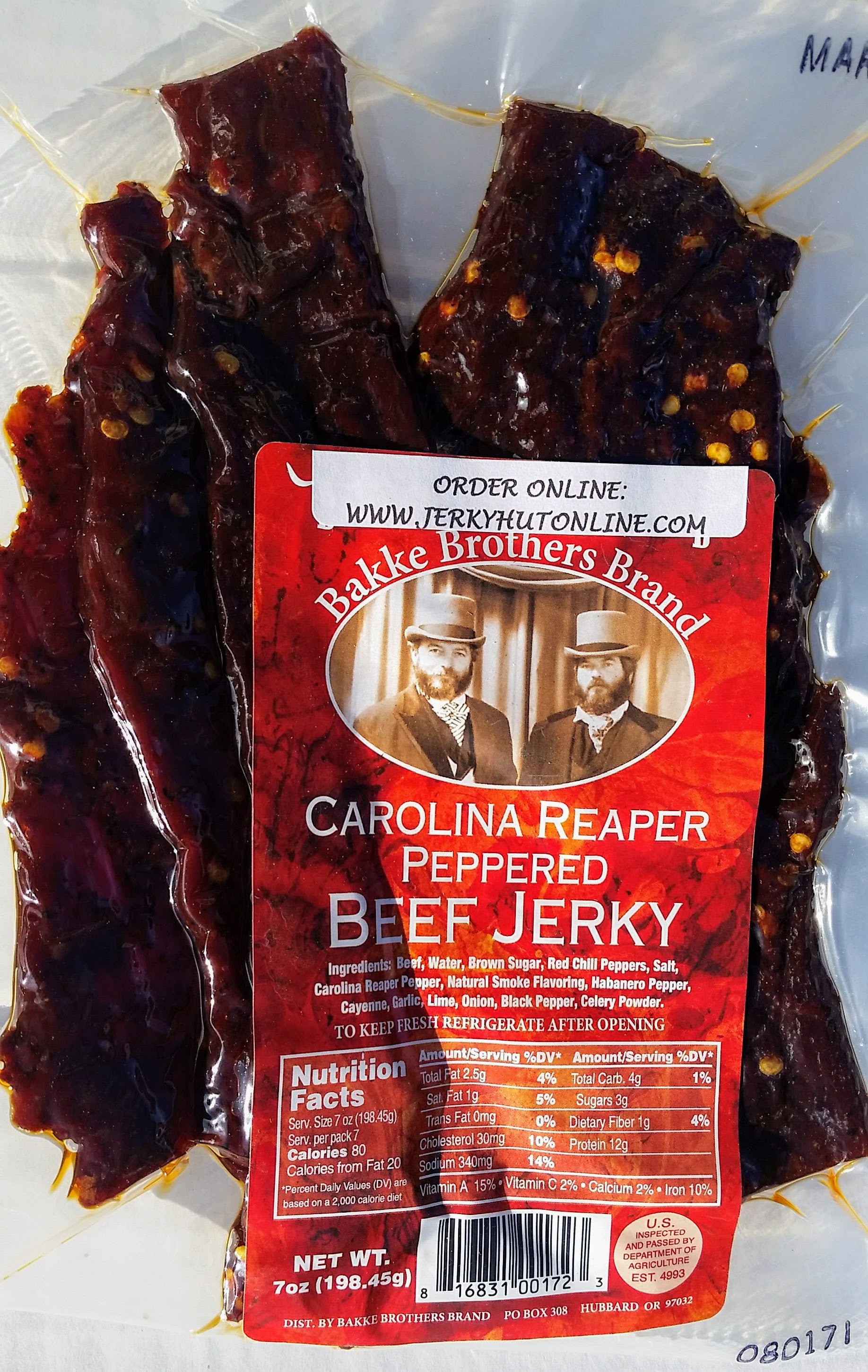 Carolina Reaper, Beef jerky, World's Hottest Pepper - The Jerky Hut online
