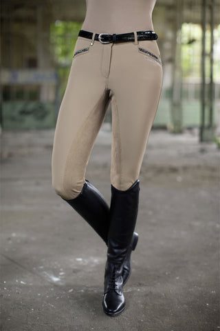 Cavallino Marino Silver Stream Full Seat Breeches with Crystals - 20x60  - 1