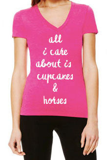 Cupcakes and Horses Tee - Berry Tri-Blend - 20x60  - 1