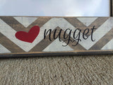 Love Your Nugget Picture Frame - Grey/White with Pink - 20x60  - 2
