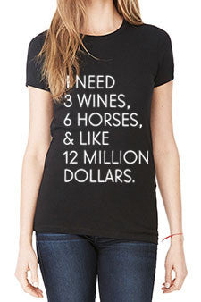 "The ""I Need"" Wine Tee - Black Tri-Blend - 20x60"