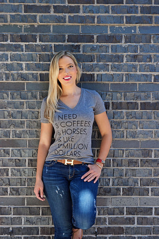 "The ""I Need"" Equestrian Tee - Heather Grey Tri-Blend - 20x60  - 1"