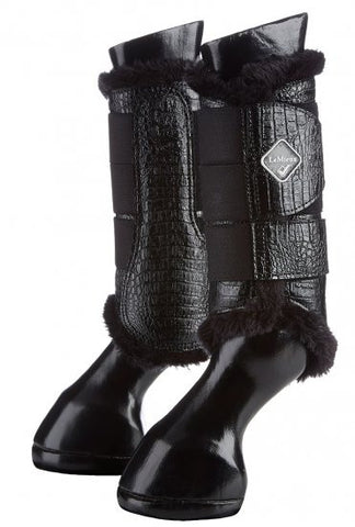 LeMieux St Moritz Fleece Crocodile Leather Brushing Boots - Black - 20x60  - 1