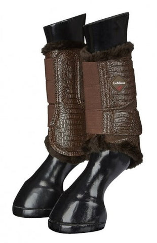 LeMieux St Moritz Fleece Crocodile Leather Brushing Boots - Brown - 20x60  - 1