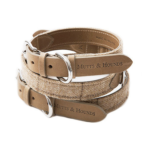 Mutts and Hounds Oatmeal Check Dog Collar - 20x60  - 1