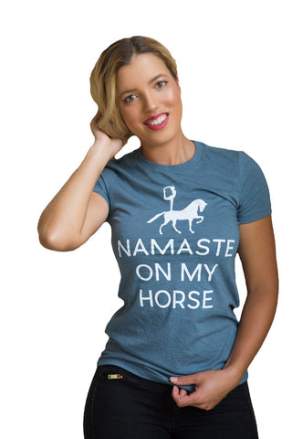 Namaste On My Horse Tee - Heather Slate - 20x60  - 1