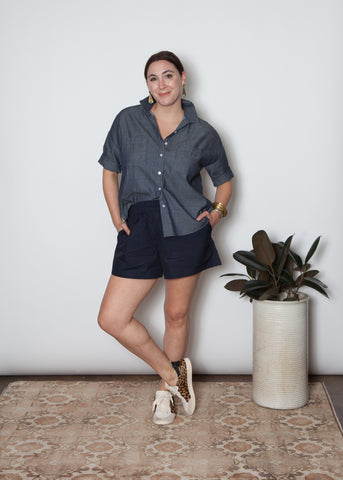 Mercy Top- Navy Poplin