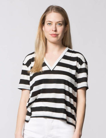 Bea Top - Black & White Stripe