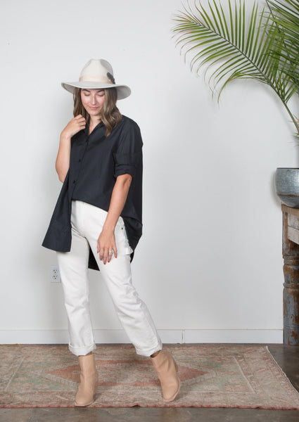 Bobby Top - Black Poplin