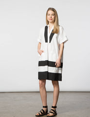 Cindy Dress - White & Black