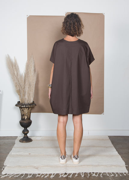 Mary Dress - Espresso Poplin