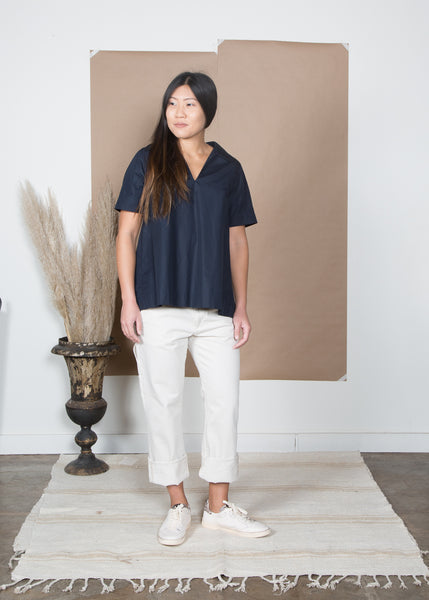 Rochelle Top - Navy Poplin