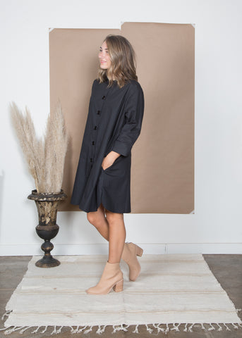 Stacey Dress - Black Poplin