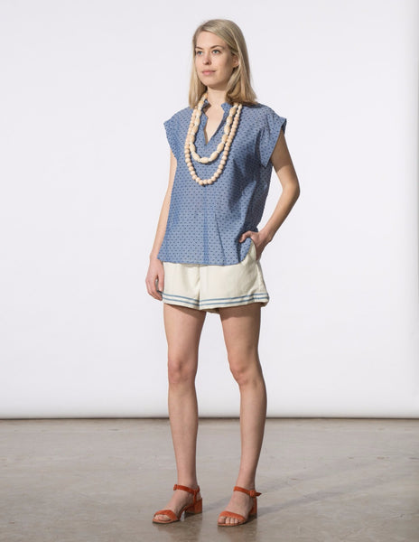 Bethany Short - Natural Blue Stripe