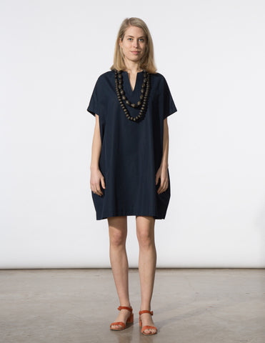 Mary Dress - Navy Poplin