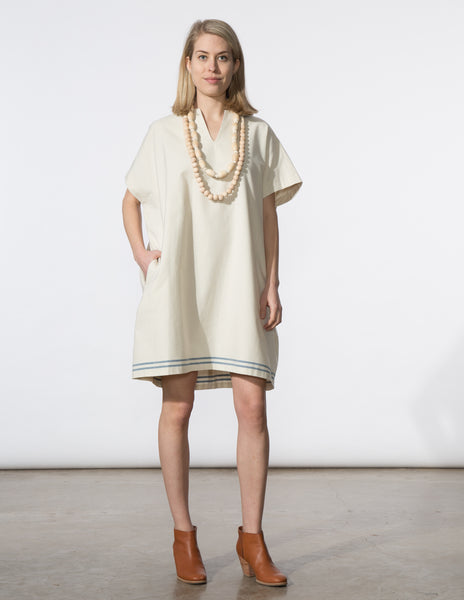 Mary Dress - Cream with Blue Stripe