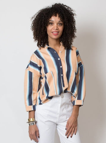 Kaya Top - Natural & Cream Stripe
