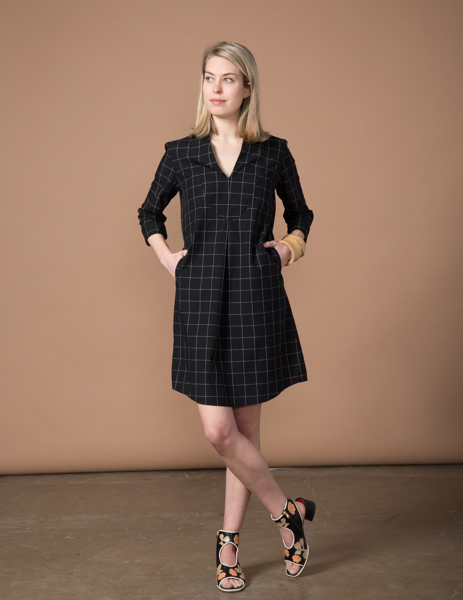 Lizzie Dress - Black & White Window Pane
