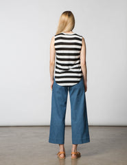 Melissa Muscle Tee - Black & White Stripe