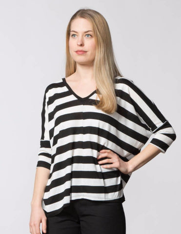 Stephanie Top - Black & White Stripe