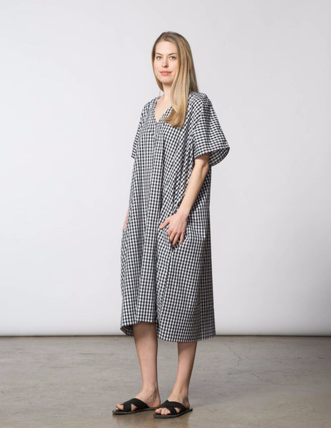 Kathleen Caftan Dress - Black & White Check