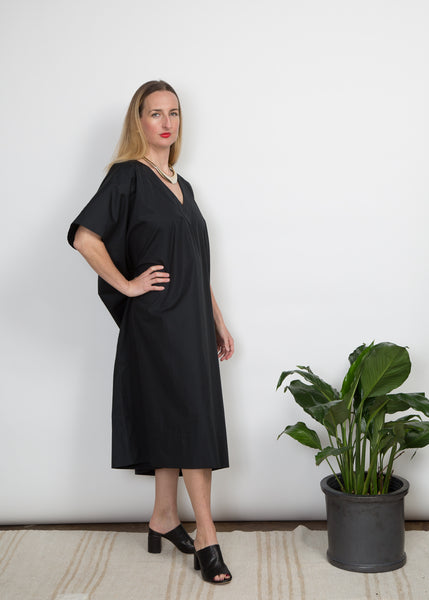 Kathleen Caftan Dress - Black Poplin