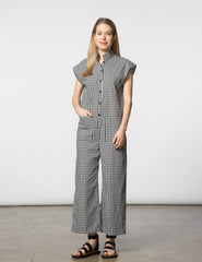 Laura Jumpsuit - Black & White Gingham Check