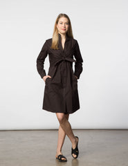 Lauri Dress - Brown Poplin