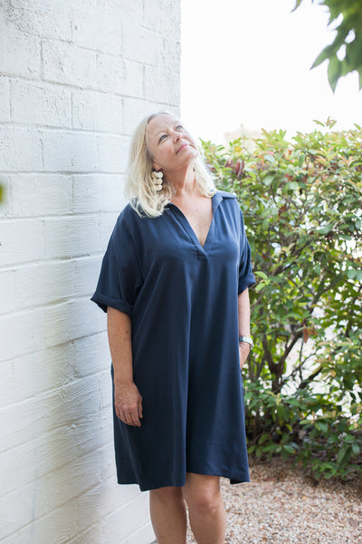 Olamie Dress - Navy Cotton Tencel