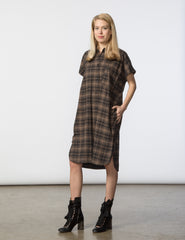 R Dress - Brown & Black Plaid