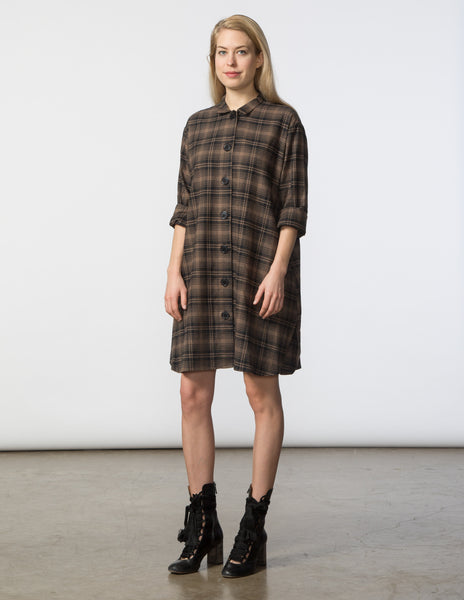 Stacey Dress - Brown & Black Plaid